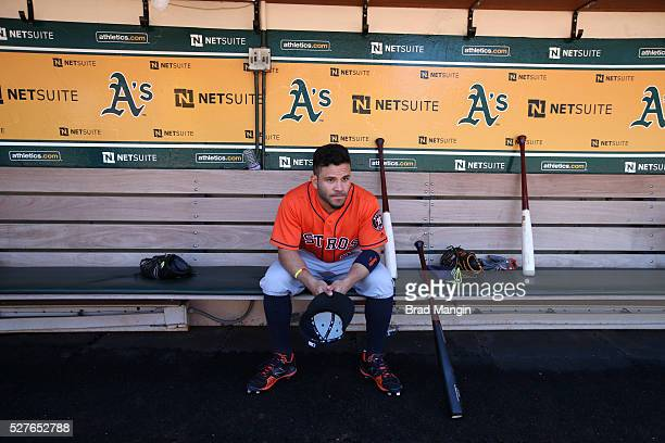 Jose Altuve of the Houston Astros sits in the dugout before the game against the Oakland Athletics at the Oakland Coliseum on Saturday April 30 2016...