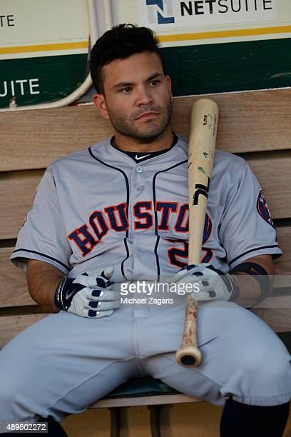Jose Altuve of the Houston Astros sits in the dugout prior to the game against the Oakland Athletics at Oco Coliseum on September 9 2015 in Oakland...