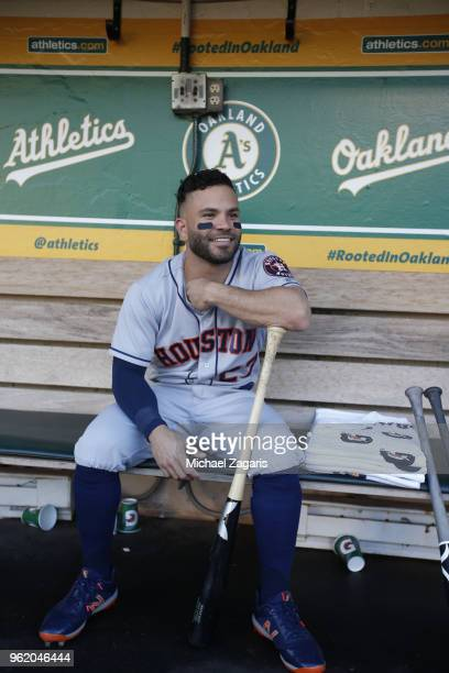 Jose Altuve of the Houston Astros sits in the dugout prior to the game against the Oakland Athletics at the Oakland Alameda Coliseum on May 8 2018 in...