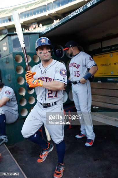 Jose Altuve of the Houston Astros stands in the dugout prior to the game against the Oakland Athletics at the Oakland Alameda Coliseum on June 19...