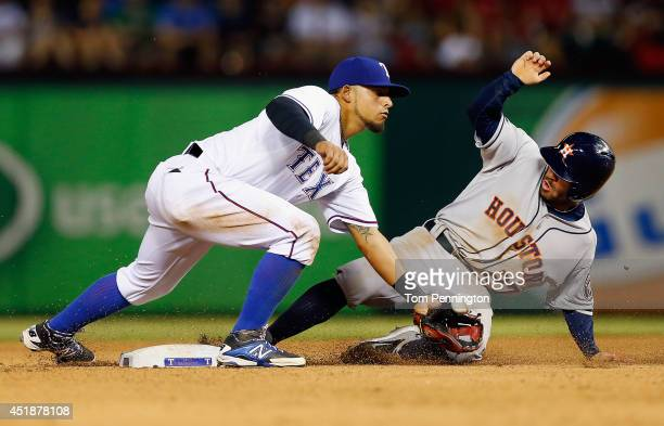 Jose Altuve of the Houston Astros steals second base against Rougned Odor of the Texas Rangers in the top of the seventh inning at Globe Life Park in...