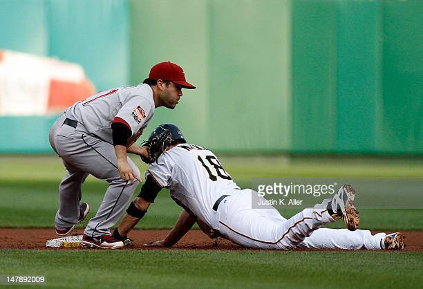 Jose Altuve of the Houston Astros tags out Neil Walker of the Pittsburgh Pirates during the game on July 5 2012 at PNC Park in Pittsburgh Pennsylvania
