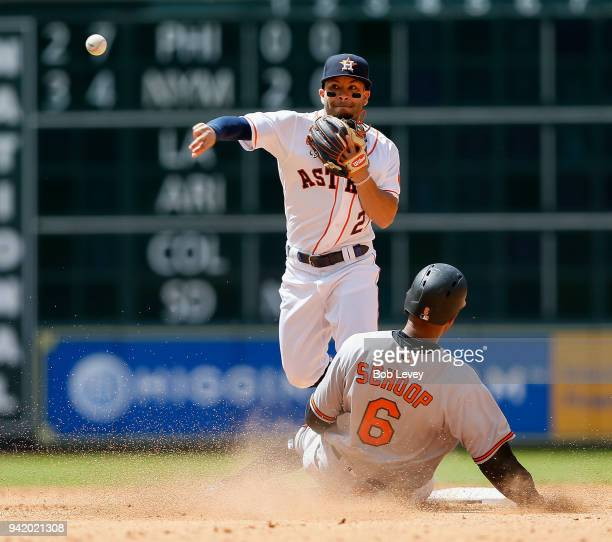 Jose Altuve of the Houston Astros turns a double play as Jonathan Schoop of the Baltimore Orioles slides into second base in the fifth inning at...