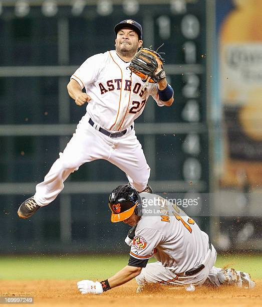 Jose Altuve of the Houston Astros turns a double play as Manny Machado of the Baltimore Orioles attempts to break up the play in the eighth inning at...