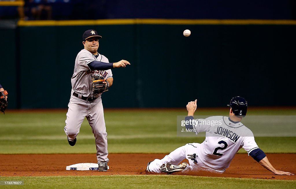 Jose Altuve #27 of the Houston Astros turns a double play in the ninth inning as Kelly Johnson #2 of the Tampa Bay Rays tries to break up the throw at Tropicana Field on July 12, 2013 in St. Petersburg, Florida.