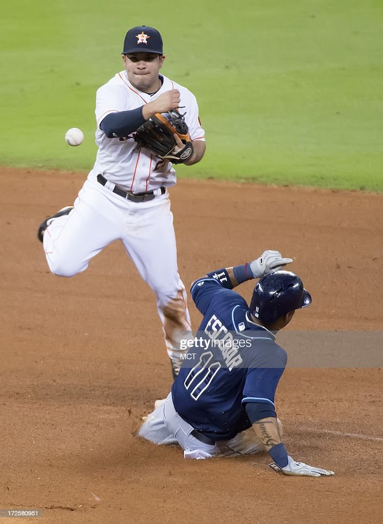 Jose Altuve (27) of the Houston Astros turns a double play over Yunel Escobar (11) of the Tampa Bay Rays in the seventh inning of their game on Wednesday, July 3, 2013, in Houston, Texas.