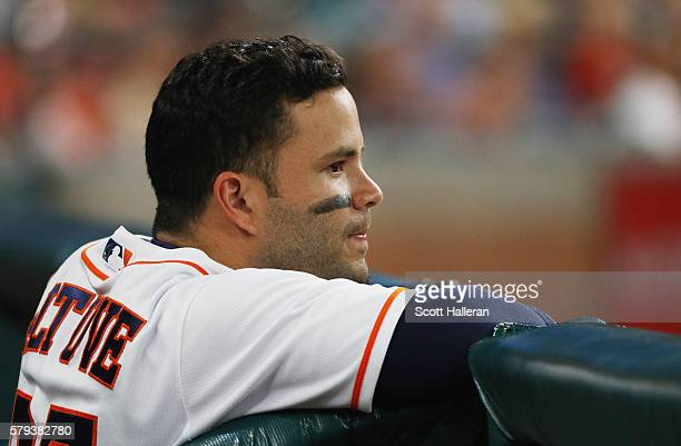 Jose Altuve of the Houston Astros waits in the dugout during their game against the Los Angeles Angels of Anaheim at Minute Maid Park on July 23 2016...