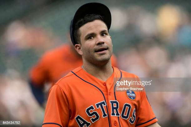 Jose Altuve of the Houston Astros walks off the field during a game against the Seattle Mariners at Safeco Field on September 4 2017 in Seattle...