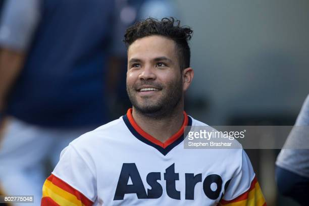 Jose Altuve of the Houston Astros walks through the dugout before a game against the Seattle Mariners at Safeco Field on June 24 2017 in Seattle...