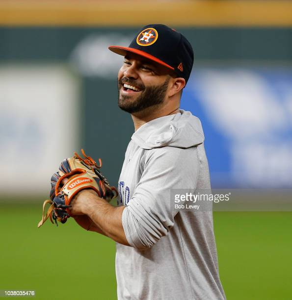 Jose Altuve of the Houston Astros warms up before a baseball game against the Los Angeles Angels of Anaheim at Minute Maid Park on September 22 2018...