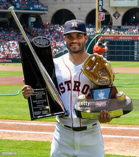 Jose Altuve of the Houston Astros was presented his Silver Slugger and Gold Glove Awards at Minute Maid Park on April 23 2016 in Houston Texas
