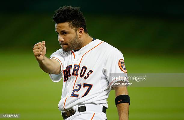 Jose Altuve of the Houston Astros works out on the field before their game against the Tampa Bay Rays at Minute Maid Park on August 18 2015 in...