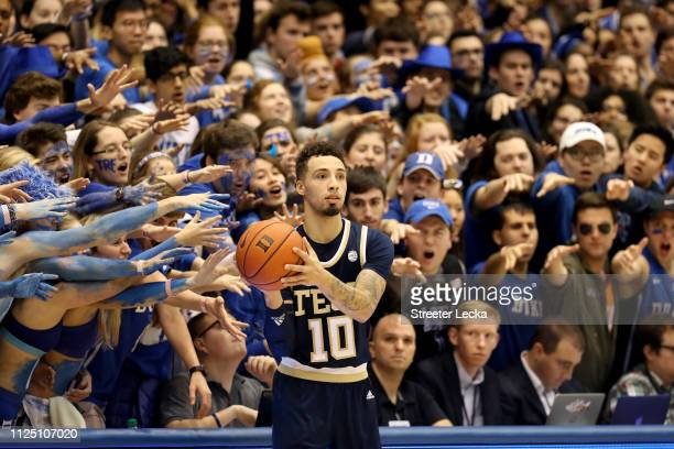 Jose Alvarado of the Georgia Tech Yellow Jackets looks to throw the ball inbounds against the Duke Blue Devils during their game at Cameron Indoor...