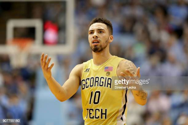 Jose Alvarado of the Georgia Tech Yellow Jackets reacts after a call against the North Carolina Tar Heels during their game at Dean Smith Center on...
