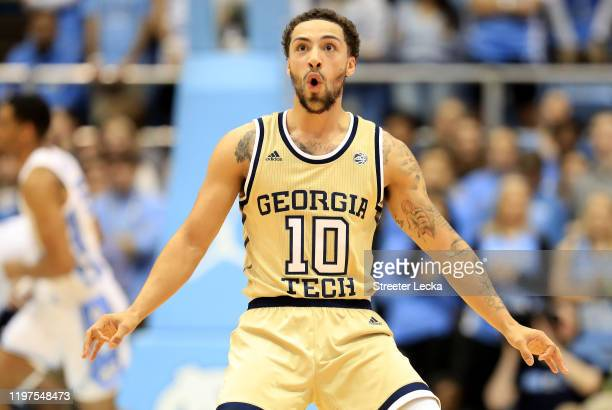 Jose Alvarado of the Georgia Tech Yellow Jackets reacts after a play against the North Carolina Tar Heels during their game at Dean Smith Center on...