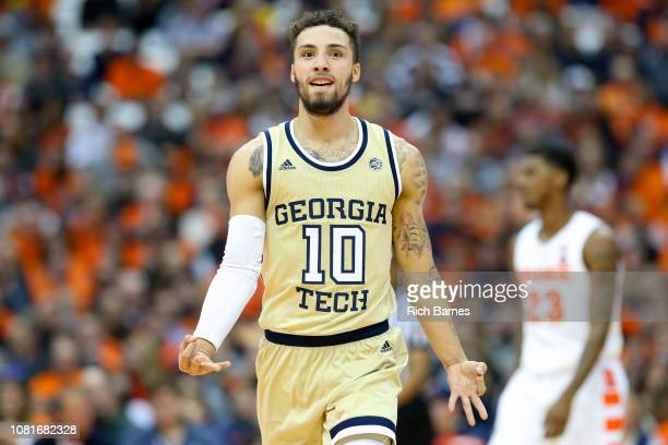 Jose Alvarado of the Georgia Tech Yellow Jackets reacts to a made three-point basket against the Syracuse Orange during the second half at the...