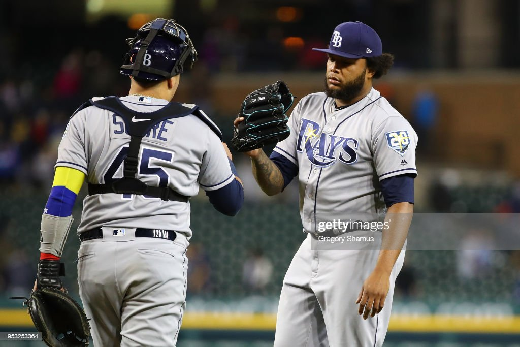 Jose Alvarado #46 of the Tampa Bay Rays celebrates a 3-2 win over the Detroit Tigers with Jesus Sucre #45 at Comerica Park on April 30, 2018 in Detroit, Michigan.