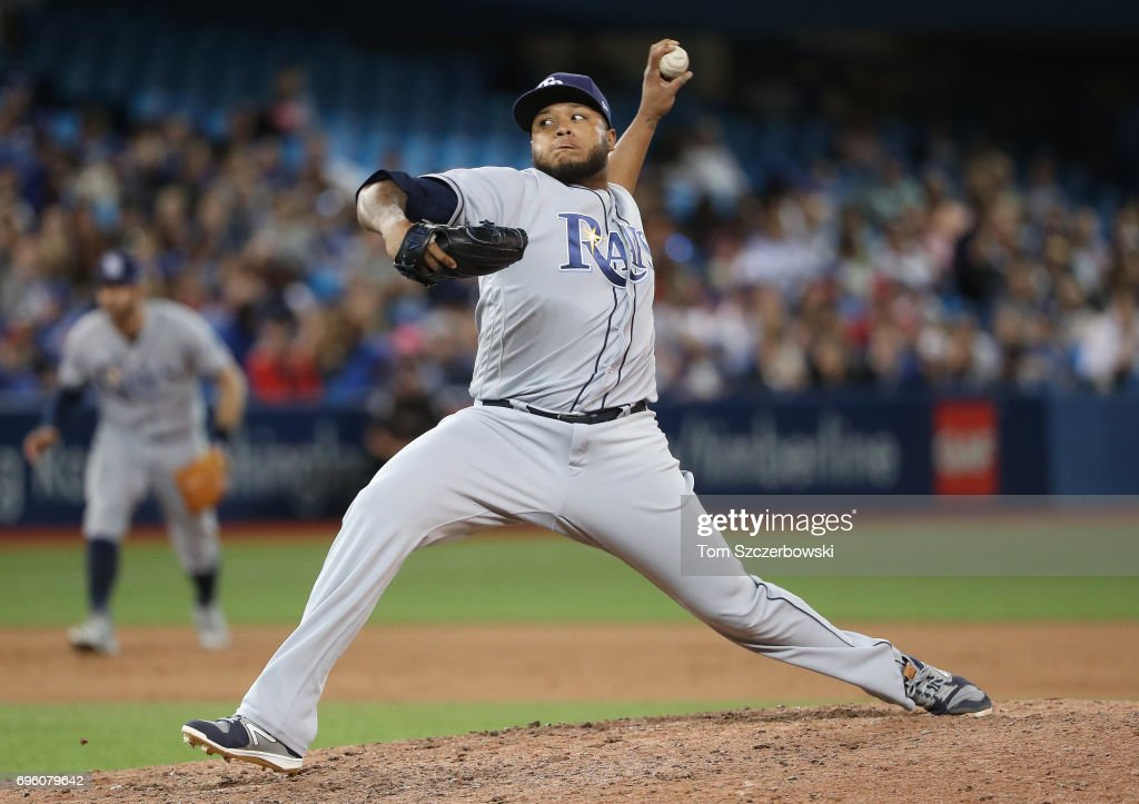 Jose Alvarado #46 of the Tampa Bay Rays delivers a pitch in the eighth inning during MLB game action against the Toronto Blue Jays at Rogers Centre on June 14, 2017 in Toronto, Canada.