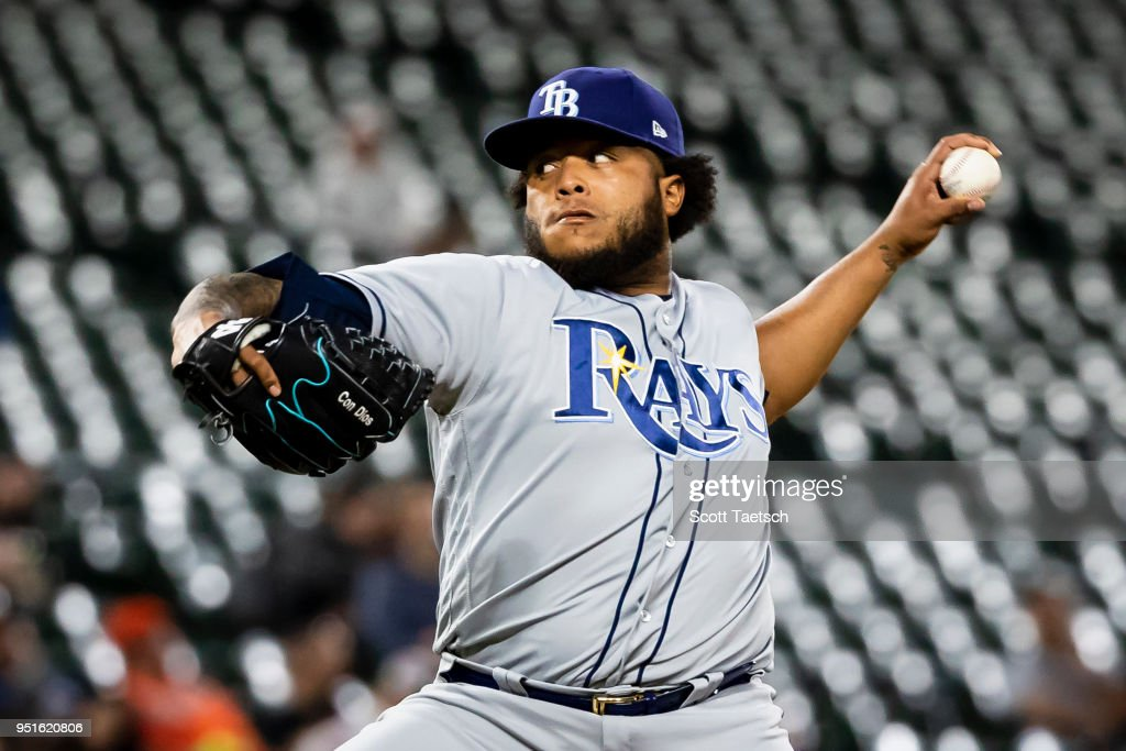 Jose Alvarado #46 of the Tampa Bay Rays pitches during the eighth inning against the Baltimore Orioles at Oriole Park at Camden Yards on April 26, 2018 in Baltimore, Maryland.
