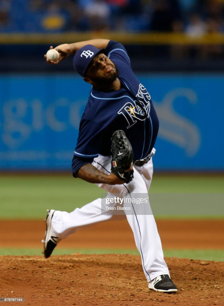 Jose Alvarado #46 of the Tampa Bay Rays pitches during the ninth inning of a game against the Toronto Blue Jays on May 6, 2017 at Tropicana Field in St. Petersburg, Florida.