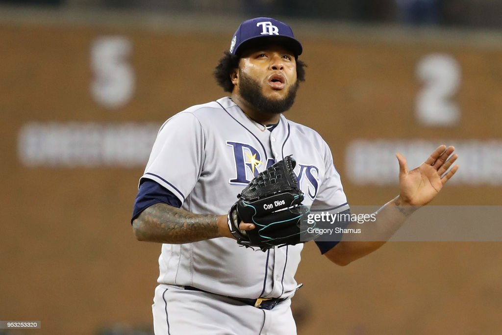 Jose Alvarado #46 of the Tampa Bay Rays reacts to a 3-2 win over the Detroit Tigers at Comerica Park on April 30, 2018 in Detroit, Michigan.
