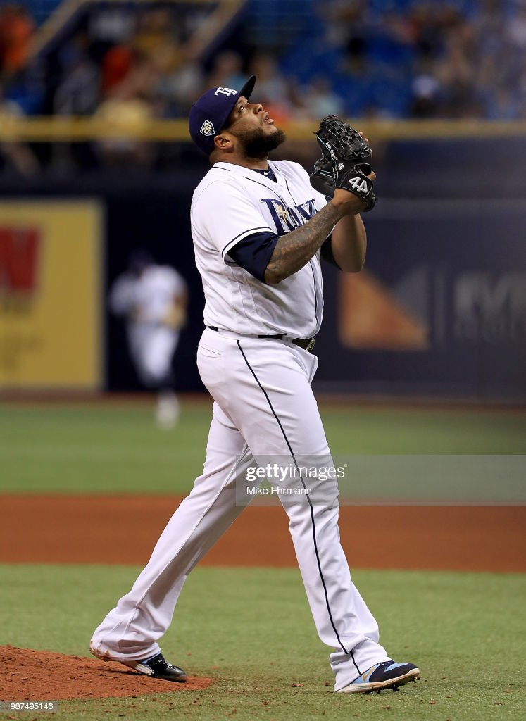 Jose Alvarado #46 of the Tampa Bay Rays reacts to winning a game against the Houston Astros at Tropicana Field on June 29, 2018 in St Petersburg, Florida.