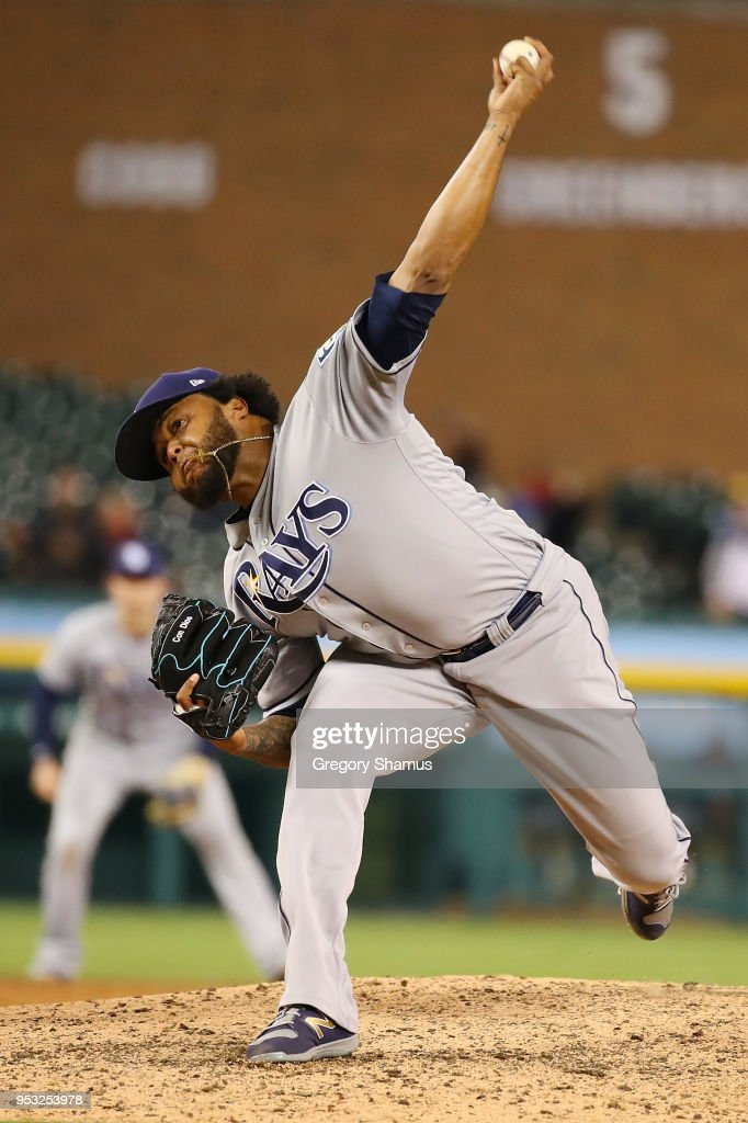 Jose Alvarado #46 of the Tampa Bay Rays throws a ninth inning pitch while playing the Detroit Tigers at Comerica Park on April 30, 2018 in Detroit, Michigan.