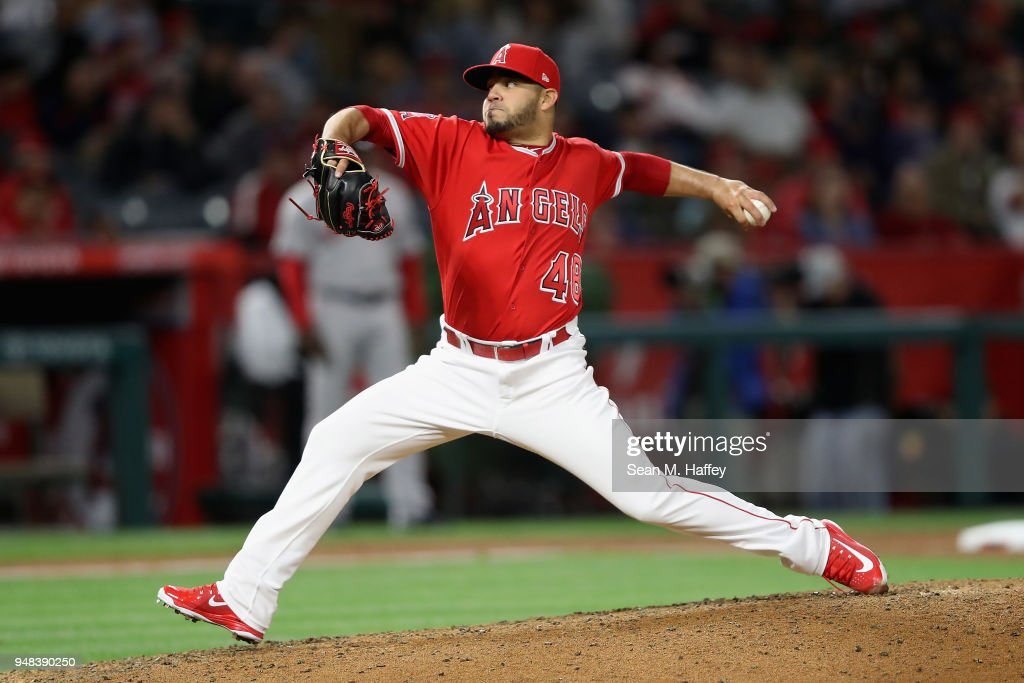 Jose Alvarez #48 of the Los Angeles Angels of Anaheim pitches during the fifth inning of a game against the Boston Red Sox at Angel Stadium on April 18, 2018 in Anaheim, California.