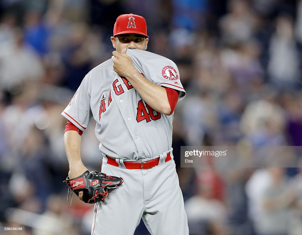 Jose Alvarez #48 of the Los Angeles Angels reacts after giving up a three run home run to Carlos Beltran of the New York Yankees at Yankee Stadium on June 6, 2016 in the Bronx borough of New York City.