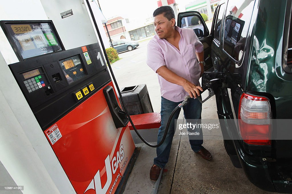 Jose Alvarez pumps gas at the Ugas station March 6, 2011 in Miami, Florida. The national average for a gallon of self-serve, regular gas was $3.50 a .33 cent increase from two weeks ago. This was the second largest two-week jump in gas prices ever, largely due to the events unfolding in Libya.