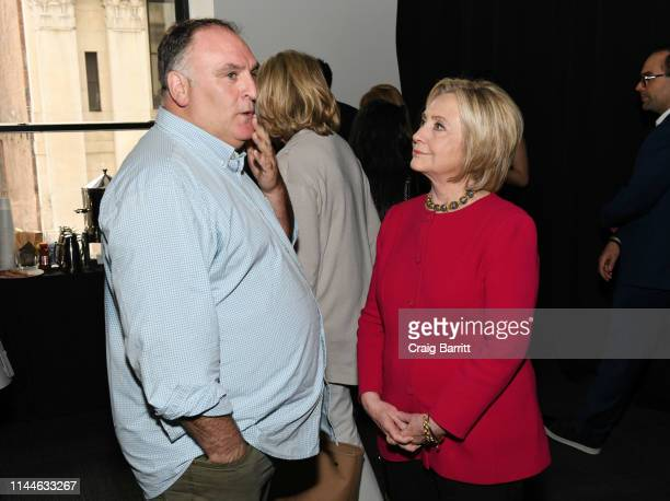Jose Andres and Hillary Clinton attend the TIME 100 Summit 2019 on April 23 2019 in New York City