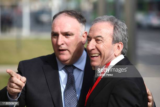 Jose Andres and Jose Luis Perales attend at the 'Bellas Artes' Golden Medal Awards at the Palace of Merced on February 18 2018 in Cordoba Spain
