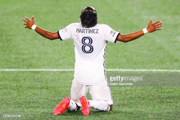 Jose Andres Martinez of Philadelphia Union reacts after a tie to New England Revolution at Gillette Stadium on August 20, 2020 in Foxborough,...