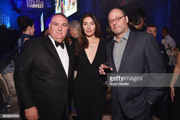 Jose Andres Zofia Borucka and Jean Reno attend City Harvest's 35th Anniversary Gala at Cipriani 42nd Street on April 24 2018 in New York City