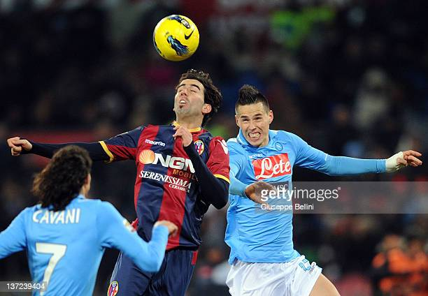 Jose Angel Crespo of Bologna and Marek Hamsik of Napoli in action during the Serie A match between SSC Napoli and Bologna FC at Stadio San Paolo on...
