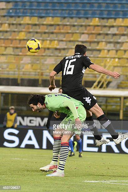 Jose Angel Crespo of Bologna FC competes the ball with Daniele Mannini of AC Siena during the Tim Cup match between FC Bologna and AC Siena at Stadio...