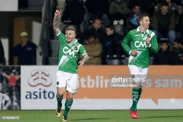Jose Angel Esmoris Tasende Angelino of NAC Breda celebrates 01 during the Dutch Eredivisie match between Heracles Almelo v NAC Breda at the Polman...