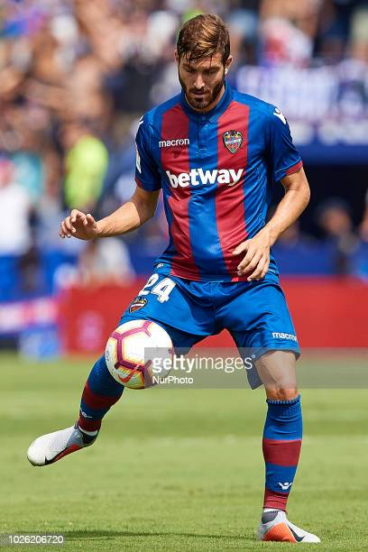 Jose Angel Gomez Campana of Levante UD with the ball during the La Liga match between Levante UD and Valencia CF at Ciutat de Valencia on September 2...