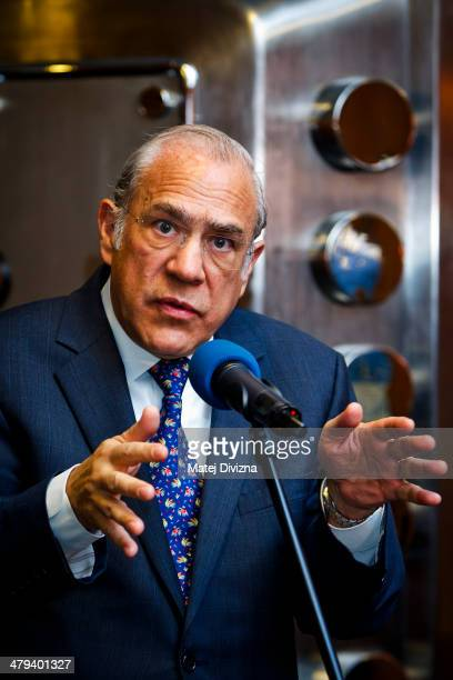 Jose Angel Gurria secretarygeneral of the Organization for Economic Cooperation and Development attends press conference during his visit on March 18...