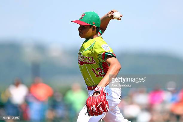 Jose Angel Leal of the Mexico Team pitches against the EuropeAfrica Team from Italy at Volunteer Stadium during the Little League World Series on...