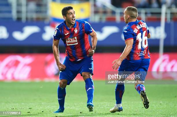 Jose Angel Valdes 'Cote' of SD Eibar celebrates after scoring a goal during the Liga match between SD Eibar SAD and Sevilla FC at Ipurua Municipal...