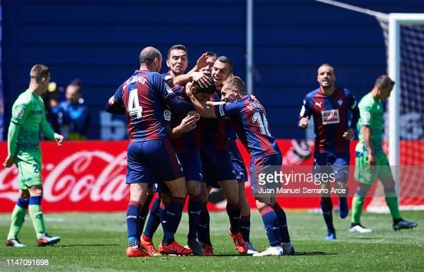 Jose Angel Valdes 'Cote' of SD Eibar celebrates after scoring goal during the La Liga match between SD Eibar and Real Betis Balompie at Ipurua...