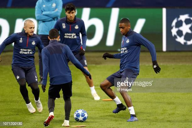Jose Angelino of PSV Mauro Junior of PSV Erick Gutierrez of PSV Pablo Rosario of PSV during a training session prior to the UEFA Champions League...