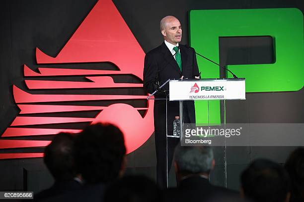 Jose Antonio Anaya chief executive officer of Petroleos Mexicanos speaks during a business plan presentation at the company's headquarters in Mexico...