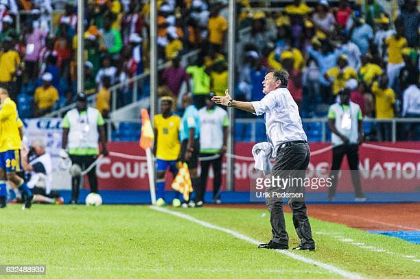 Jose Antonio Camacho head coach of Gabon during the African Nations Cup match between Cameroon and Gabon at Stade de L'Amitie on January 22, 2017 in...