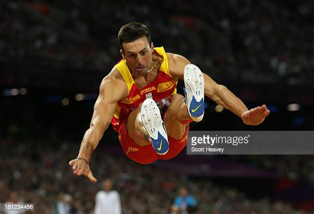 Jose Antonio Exposito Pineiro of Spain competes in the Men's Long Jump F20 Final on day 6 of the London 2012 Paralympic Games at Olympic Stadium on...