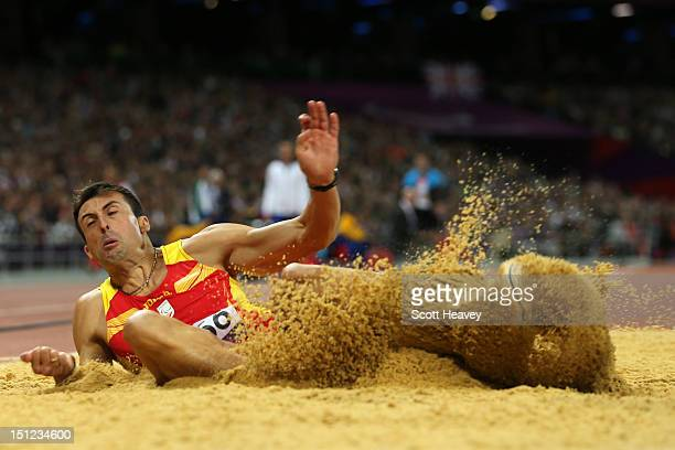 Jose Antonio Exposito Pineiro of Spain competes in the Men's Long Jump - F20 Final on day 6 of the London 2012 Paralympic Games at Olympic Stadium on...