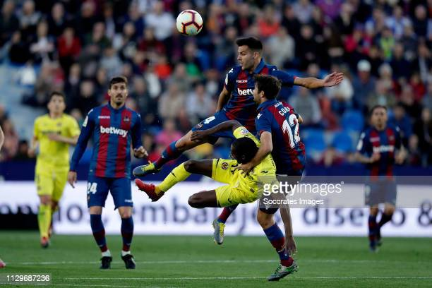 Jose Antonio Garcia Rabasco Verza of Levante UD Jorge Andujar Moreno Coke of Levante UD Ruben Garcia of Levante UD during the La Liga Santander match...