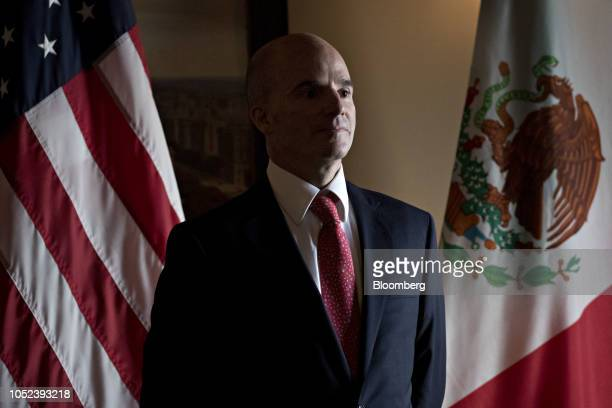 Jose Antonio Gonzalez Anaya Mexico's finance minister listens during a signing ceremony event at the US Treasury in Washington DC US on Wednesday Oct...