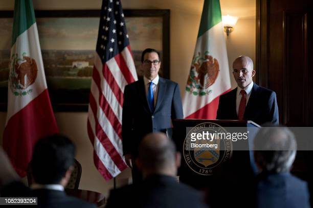 Jose Antonio Gonzalez Anaya Mexico's finance minister speaks as Steven Mnuchin US Treasury secretary left listens during a signing ceremony event at...